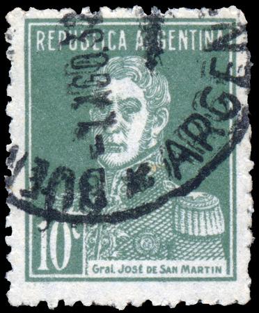 jose de san martin: ARGENTINA - CIRCA 1927: A stamp printed in the Argentina, Shows a national hero Jose de San Martin,