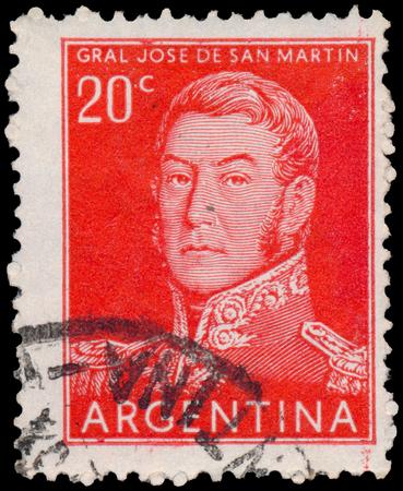 jose de san martin: ARGENTINA - CIRCA 1954: a stamp printed by Argentina, shows General Jose de San Martin