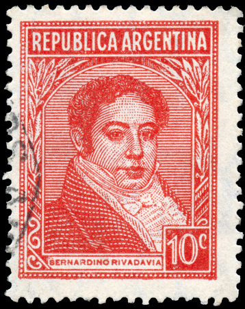 mariano: ARGENTINA - CIRCA 1945: a stamp printed in the Argentina shows Bernardino Rivadavia, The First President of Argentina, 1826 - 1827