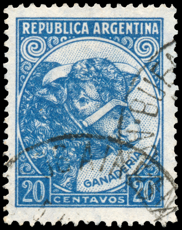 circa: ARGENTINA - CIRCA 1936: a stamp printed in Argentina shows Bull