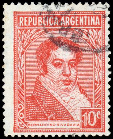 ARGENTINA - CIRCA 1945: a stamp printed in the Argentina shows Bernardino Rivadavia, The First President of Argentina, 1826 - 1827 Sajtókép