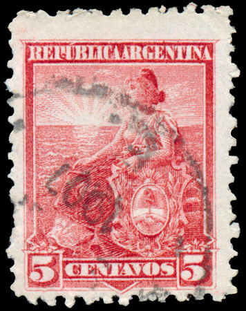 allegory: ARGENTINA - CIRCA 1899: a stamp printed in Argentina shows Allegory of Liberty, Sun, Women, Oceans, Heraldic Editorial