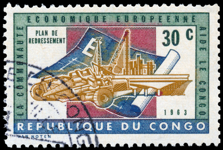 the european economic community: CONGO - CIRCA 1963: a stamp printed in Congo shows recovery plan