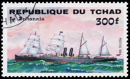 britannia: REPUBLIC OF CHAD - CIRCA 1984: a stamp printed in Republic of Chad shows the ship Le Britannia