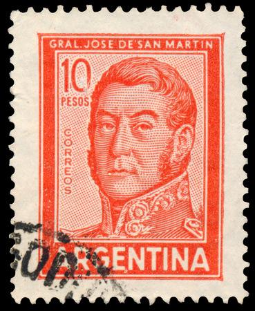 jose de san martin: ARGENTINA - CIRCA 1965: a stamp printed by Argentina, shows General Jose de San Martin Editorial