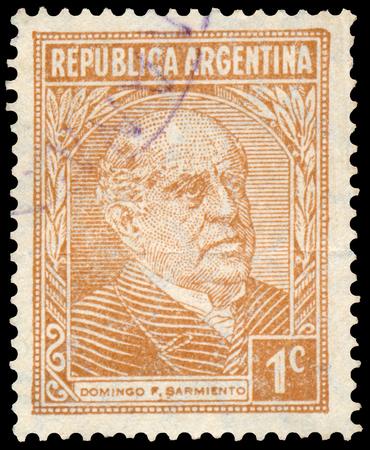 sarmiento: ARGENTINA - CIRCA 1935: a stamp printed in the Argentina shows Domingo Faustino Sarmiento, 7th President of Argentina Editorial