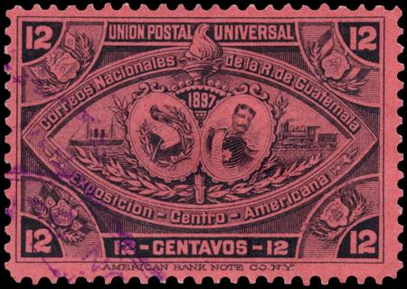 upu: GUATEMALA, CIRCA 1897 - a stamp printed in Guatemala shows symbols of Union Postal Universal