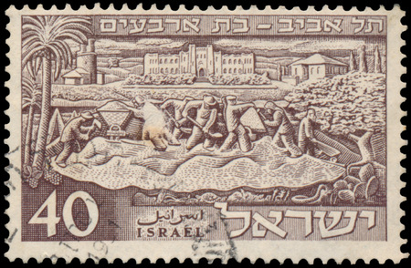 founding: ISRAEL - CIRCA 1951: a stamp printed in the Israel shows founding of Tel Aviv