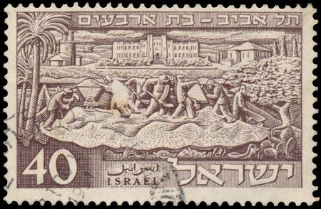 aviv: ISRAEL - CIRCA 1951: a stamp printed in the Israel shows founding of Tel Aviv