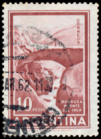 printed: Stamp printed in the Argentina Mountain Landscape Shows