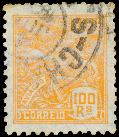 BUDAPEST, HUNGARY - 20 february 2016: a stamp printed in the Brazil shows woman as allegory aviation, circa 1940
