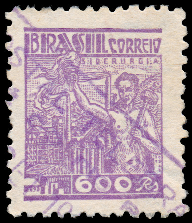 BUDAPEST, HUNGARY - 20 february 2016: a stamp printed in the Brazil shows Prometheus and Steel Industry, circa 1941 Sajtókép