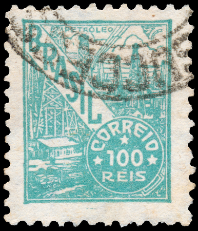 BUDAPEST, HUNGARY - 20 february 2016: a stamp printed in the Brazil shows oil refinery, circa 1941