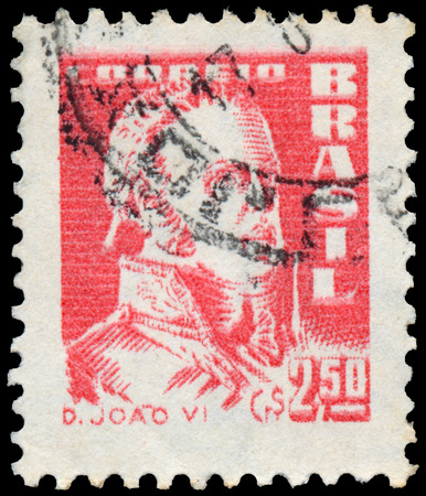 BUDAPEST, HUNGARY - 20 february 2016: a stamp printed in the Brazil shows king John VI, circa 1959