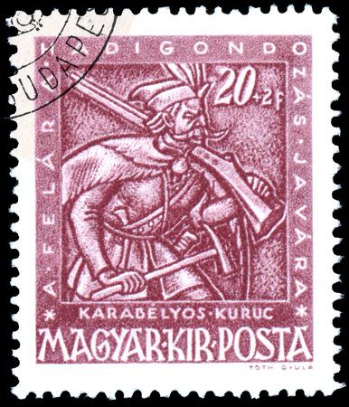 mosquetero: BUDAPEST, HUNGR�A - 03 DE FEBRERO DE 2016: un sello impreso por Hungr�a, muestra mosquetero, alrededor de 1943