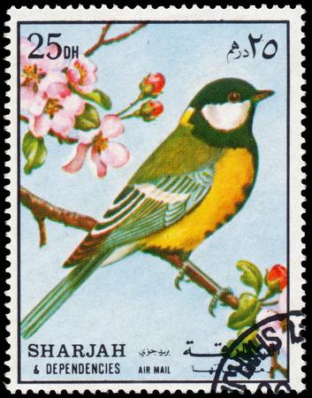 BUDAPEST, HUNGARY - 02 NOVEMBER 2015: a stamp printed in Sharjah shows great tit, circa 1972 Sajtókép
