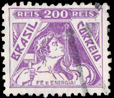 BUDAPEST, HUNGARY - 20 february 2016: a stamp printed in the Brazil shows image celebrating energy, circa 1933