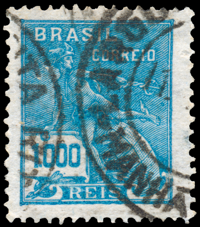 BUDAPEST, HUNGARY - 20 february 2016: a stamp printed in the Brazil shows Mercury and Globe, Symbol of Trade, circa 1928