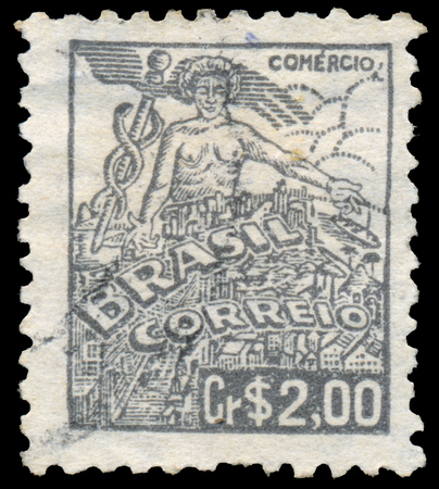 BUDAPEST, HUNGARY - 20 february 2016: a stamp printed in the Brazil shows allegory of healing, circa 1921