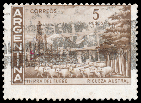 BUDAPEST, HUNGARY - 13 october 2015: a stamp printed by Argentina shows Tierra del Fuego, circa 1959 Sajtókép