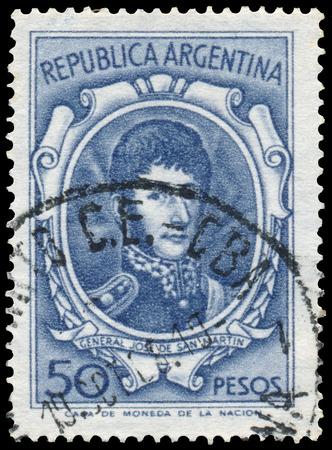 jose de san martin: BUDAPEST, HUNGARY - 13 october 2015: a stamp printed by Argentina shows General Jose De San Martin, circa 1954 Editorial