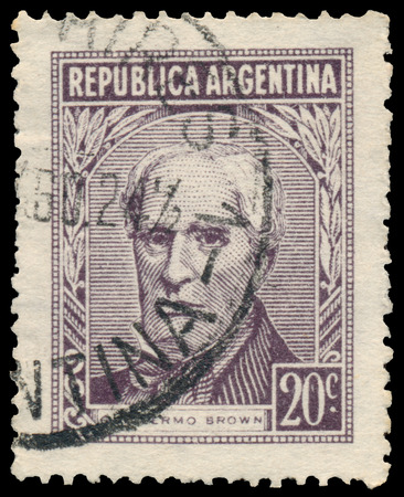 BUDAPEST, HUNGARY - 13 october 2015: a stamp printed by Argentina shows Guillermo Brown, circa 1956 Sajtókép