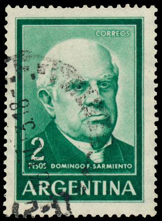 sarmiento: BUDAPEST, HUNGARY - 13 october 2015: a stamp printed by Argentina shows Domingo F. Sarmiento, circa 1961 Editorial