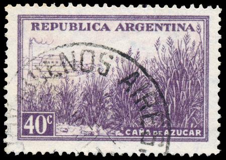 BUDAPEST, HUNGARY - 13 october 2015: a stamp printed by Argentina shows sugarcane field, circa 1936 Sajtókép
