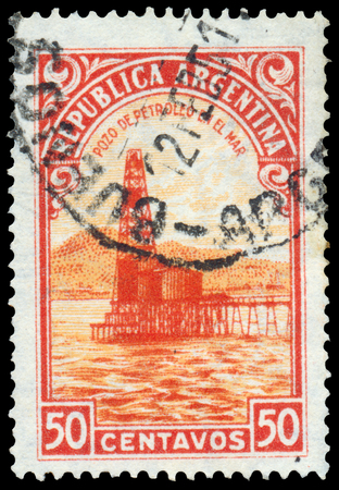 BUDAPEST, HUNGARY - 13 october 2015: a stamp printed by Argentina shows Oil well, circa 1936
