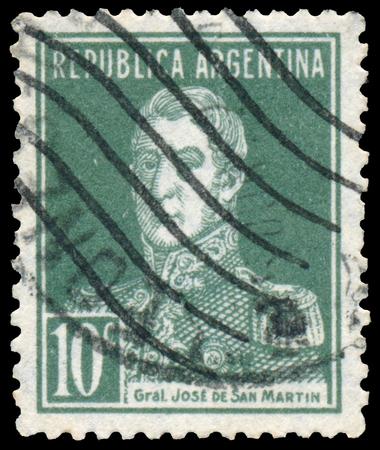 jose de san martin: BUDAPEST, HUNGARY - 13 october 2015: a stamp printed by Argentina shows a national hero, Jose de San Martin, circa 1927