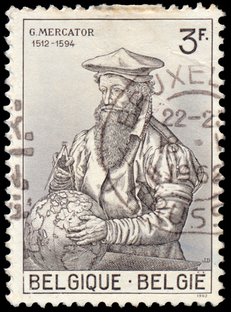 mercator: BUDAPEST, HUNGARY - 27 february 2016: a stamp printed in Belgium Shows By Gerardus Mercator 1512-1594, circa 1962