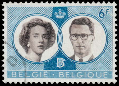 baudouin: BUDAPEST, HUNGARY - 27 february 2016:  a stamp printed By Belgium shows King Baudouin and Queen Fabiola, circa 1960
