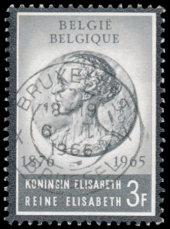 elisabeth: BUDAPEST, HUNGARY - 27 february 2016:  a stamp printed By Belgium shows Queen Elisabeth, circa 1965 Editorial