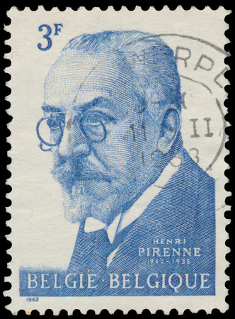 henri: BUDAPEST, HUNGARY - 27 february 2016: a stamp printed in Belgium By Shows The portrait of Henri Pirenne 1862-1935, circa 1963