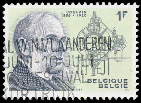 BUDAPEST, HUNGARY - 27 february 2016: a stamp printed By Belgium shows portrait of Jules Boulvin, circa 1964