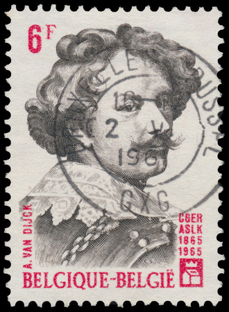 BUDAPEST, HUNGARY - 27 february 2016: a stamp printed By Belgium shows portrait of A. Van Dijc, circa 1965