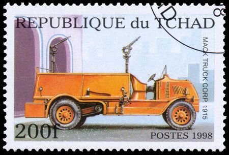 firetruck: BUDAPEST, HUNGARY - 01 march 2016:  a stamp printed in Chad, shows firetruck, circa 1998 Editorial
