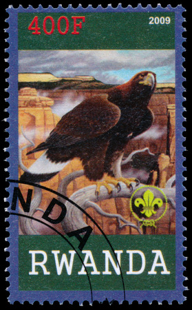 BUDAPEST, HUNGARY - 01 march 2016: a stamp printed by Rwanda, shows Eagle, circa 2009