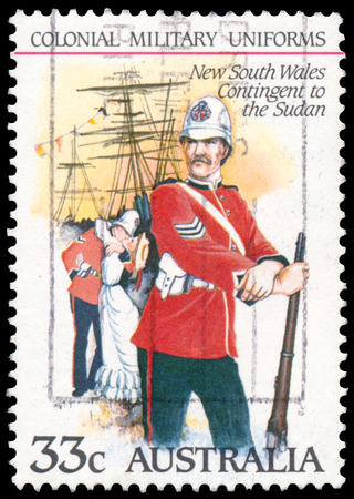 contingent: BUDAPEST, HUNGARY - 01 march 2016:  a stamp printed by Australia shows the Colonial military uniforms: New South Wales Contingent to the Sudan, circa 1985
