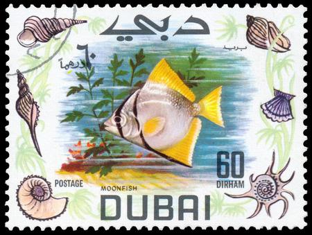 BUDAPEST, HUNGARY - 01 march 2016: a stamp printed in the Dubai shows shows Moonfish, circa 1969 Sajtókép