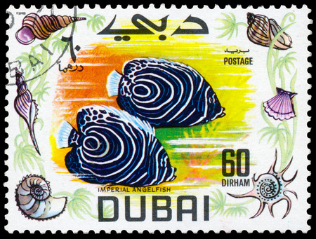postage stamps: BUDAPEST, HUNGARY - 01 march 2016:  a stamp printed in the Dubai shows shows Imperial Angelfish, circa 1969