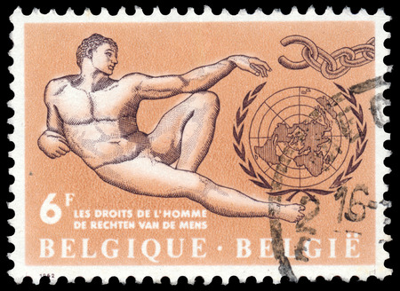 addresses: BUDAPEST, HUNGARY - 27 february 2016:  a stamp printed  in the Belgium shows Human Rights, circa 1962