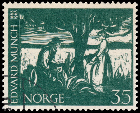 munch: BUDAPEST, HUNGARY - 01 march 2016:  a stamp printed in Norway shows Portrait of Edvard Munch, circa 1963 Editorial