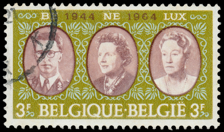 BUDAPEST, HUNGARY - 27 february 2016: a stamp printed in the Belgium shows Baudouin of Belgium, Queen Juliana, Grand Duchess Charlotte, circa 1964