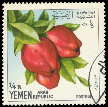 BUDAPEST, HUNGARY - 29 february 2016: a stamp printed in the Yemen shows apple, circa 1967