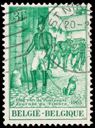 BUDAPEST, HUNGARY - 27 february 2016: a stamp printed in the Belgium shows Postmaster, circa 1962