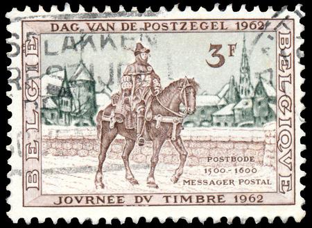 BUDAPEST, HUNGARY - 27 february 2016: a stamp printed in the Belgium shows Postrider, 16th Century, Belgium, circa 1962