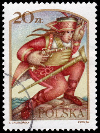 legends: BUDAPEST, HUNGARY - 12 march 2016:  a post stamp printed in Poland shows the Janosik the Robber, the series Polish legends, circa 1986