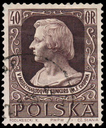 frederic chopin: BUDAPEST, HUNGARY - 12 march 2016: a stamp printed by Poland shows image portrait of famous Polish musician and composer Frederic Chopin. 5th International Competition of Chopins Music, circa 1955 Editorial