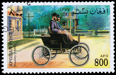 BUDAPEST, HUNGARY - 18 march 2016: a stamp printed in Afghanistan Shows vintage car by Stanley (1886), circa 1998